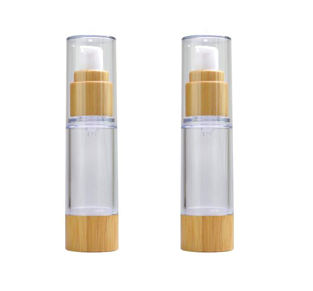 2PCS Empty Refill Portable Bamboo Plastic Airless Vacuum Emulsion Pump Bottle Jars Cream Lotion Make Up Sample Travel Packing Vials Cosmetic Toiletries Liquid Storage Containers(100ml/3.4oz)