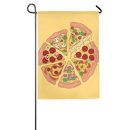 Inspirational Pizza Food Family Party Outdoor Yard House Garden Flags 12x18 inches Polyester Fiber Decorative