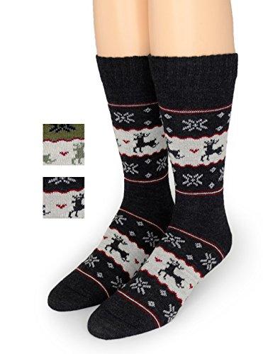 Warrior Alpaca Socks - Fun Reindeer - Fair Isle Alpaca Wool Socks - Warm, Winter, Novelty, Holiday Sox - Unisex