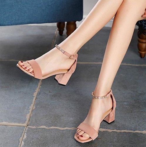 RuiFrau Sommerfrauen Schuhe mit hohen Abs?tzen Sandalen dick mit weiblichen Sandalen Strass Sandalen und Pantoffeln Wort Pink