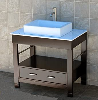 Solid Wood Bathroom Vanity 36u0026quot; Bathroom Vanity Cabinet White Quartz  Top Sink Faucet ...