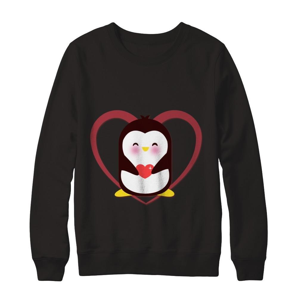 Teely Shop Womens Funny Cute Valentines Day Penguin Gildan Pullover Sweatshirt