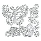 Taloyer Set of 2pcs Butterfly Flower Metal Cutting Dies Creative Stencil Template Moulds for DIY Scrapbooking Album Paper Card Making Craft