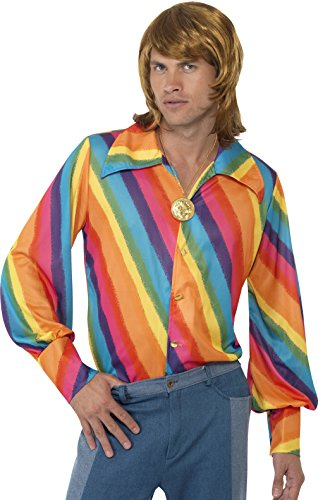 70s Dress Men (Smiffy's Men's color Shirt, Rainbow color Shirt, 70 Disco, Serious Fun, Size L, 35384)