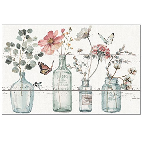 Counterart 24-Pack Disposable Paper Placemats - Floral Vases