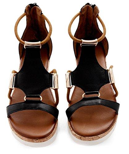 Inuovo Mujeres sandalias de Gladiador de cuero Negro Negro