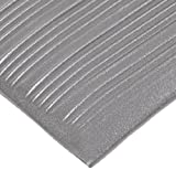 NoTrax T42 Heavy Duty PVC Safety/Anti-Fatigue Comfort Rest Ribbed Foam, For Dry Areas, 3' Width x 10' Length x 9/16'' Thickness, Silver