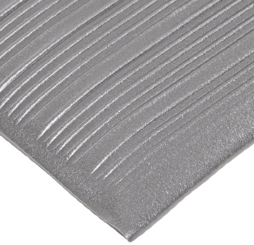 NoTrax T42 Heavy Duty PVC Safety/Anti-Fatigue Comfort Rest Ribbed Foam, For Dry Areas, 3' Width x 10' Length x 9/16'' Thickness, Silver by NoTrax