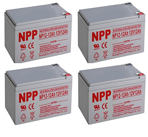 NPPower 12V 12Ah AGM SLA Battery F2 Style Terminals / 4 Pack
