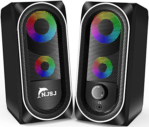 Computer Speakers, NJSJ Wired RGB Gaming Speakers,10W Stereo Bass Desktop Speaker Volume Control,3.5mm Aux Multimedia Speakers for PC/Laptop/Tablet/Cellphone (Black)