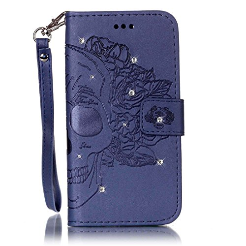 Prettyping01 Embossing Diamonds Series Galaxy S5 Case, Wrist Strap Premium PU Leather Wallet Case with Kickstand Card Holder and ID Slot for Samsung Galaxy S5 (Blue Skull) (S5 Hello Kitty Bling Case)