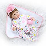 Tianara Soft Silicone Baby Doll Realistic Newborn Girl with Floral Outfit Toy Gift 16 Inches