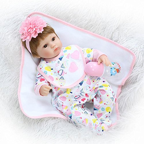 Tianara Soft Silicone Baby Doll Realistic Newborn Girl with Floral Outfit Toy Gift 16 Inches by Tianara