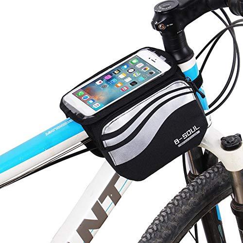 nbvmngjhjlkjl Vélo Vélo Cadre Avant Sac À Bandoulière Tube Écran Tactile Téléphone Portable Accessoires de Vélo VTT Sac De Randonnée Vélo De Route - Argent