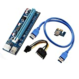 PCI-E Riser Card, HoGadget PCI Express 16x to 1x Riser Adapter Ethereum Mining Riser Card USB 3.0 Extension Cable 6 pin to SATA Power Cable Extender 60cm