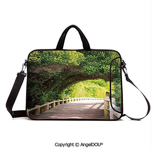 AngelDOU Waterproof Laptop Sleeve Bag Neoprene Carrying Case with Handle & Strap Nature Boardwalk Through Green Archway Bridge Foliage Trees Sunny Summer Day for Women &Men Work Home Office Beige Gr