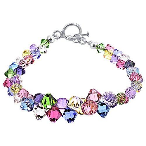 (Gem Avenue 925 Sterling Silver Swarovski Elements Multicolor Crystal 7.5 inch Toggle Clasp Bracelet for Women )