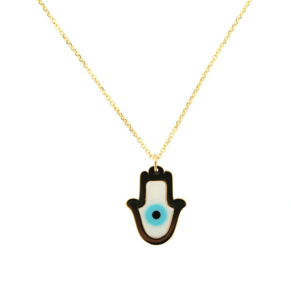 18K Yellow Gold Hamsa Fatima Hand and ceramic Eye with 16 inch chain