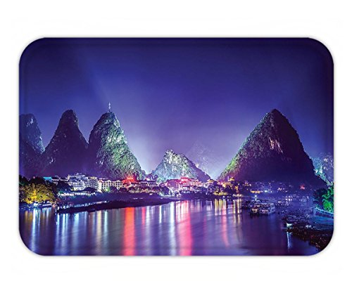 Minicoso Doormat Lake House Decor Collection Chinese Mountain with Trees Landscape Colorful Light Show River Boats on Water Night-time - Of Show Predator The Pictures Me