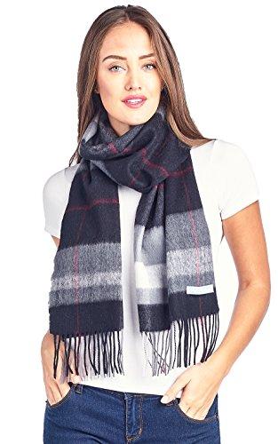 High Style 100% Lambswool wool Men and Women Plaid Pashmina Scarf (911069, BlackGrey) (White Scarf Wool)