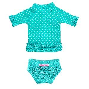 RuffleButts Baby/Toddler Girls Rash Guard Short Sleeve 2-Piece Swimsuit Set – Polka Dot Bikini with UPF 50+ Sun…