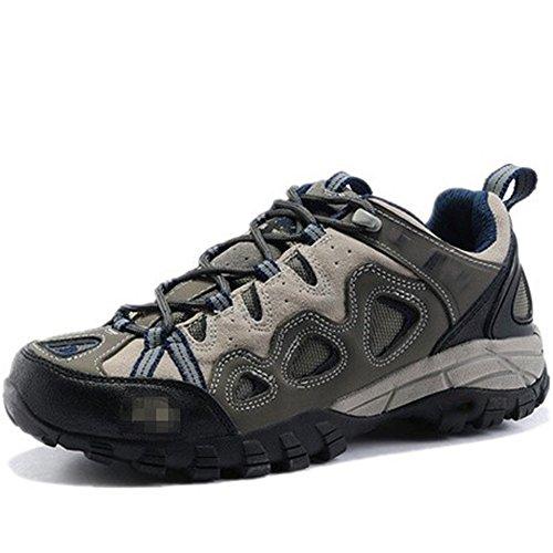 CHT Invierno Al Aire Libre Primavera Verano Caer Ligeros Respirables De Excursión Los Zapatos De Los Hombres De Cuero Marrón Tamaño Del Alpinismo-gris Opcional Gray