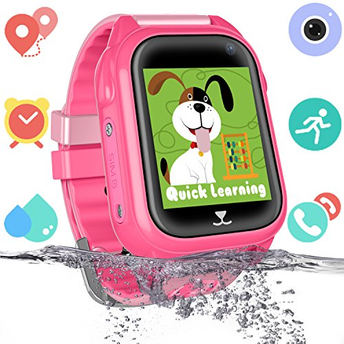Kids Waterproof Smart Watch for Girls Boys - IP67 Water-resistant Children Smartwatch with GPS/LBS Tracker SOS Camera Anti-lost Game for Summer Outdoor Swim Pool Bath Sports Watch Phone (01 S8 Pink)