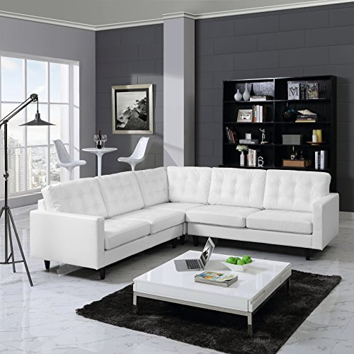 Modway Empress Mid-Century Modern Upholstered Leather Sectional Sofa Set In White