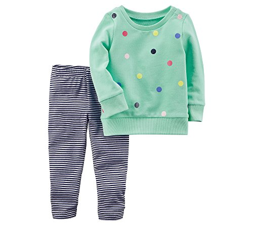 Carter's Baby Girls' French Terry Sweatshirt and Striped Leggings Set 12 (Terry Pullover Top)