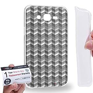 Case88 [Samsung Galaxy J7] Gel TPU Carcasa/Funda & Tarjeta de garantía - Art Drawing Silver gray Rolling Sea Art1598