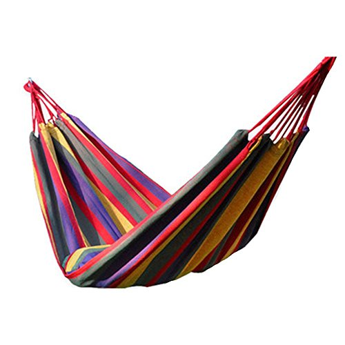 Price comparison product image IFLYING Colorful Multifunctional Hammock Cotton Fabric Travel Camping Hammock 2 Person 450lbs for Bedroom Indoor Hammock Chair Bed Outdoor (Red)