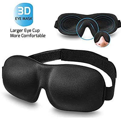 Sleep Mask for Woman & Man, BearMoo 3D Countered Sleeping Eye Mask, Innovative Light Blocking Design Blindfold, Supper Smooth and Light Eye Mask for Traveling - Black
