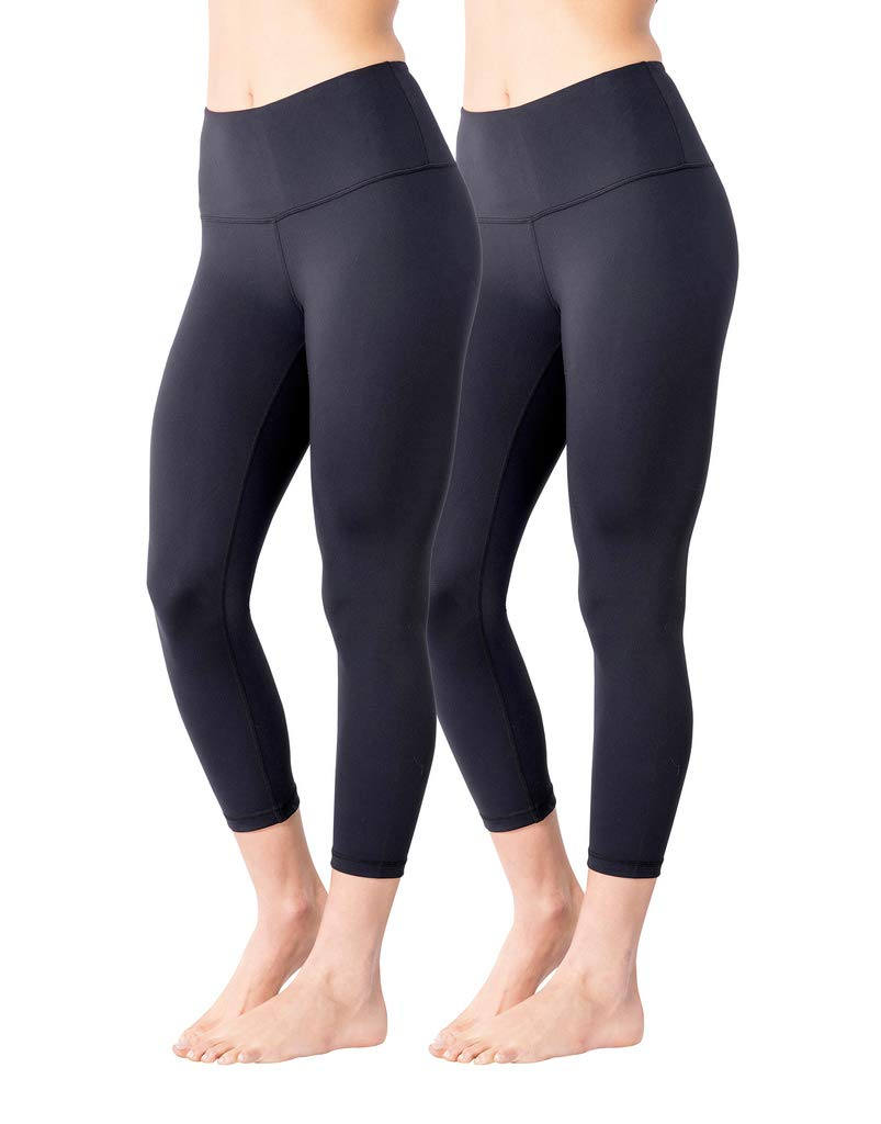Yogalicious High Waist Ultra Soft Lightweight Capris - High Rise Yoga Pants - Classic Blk 2 Pack - Small by Yogalicious