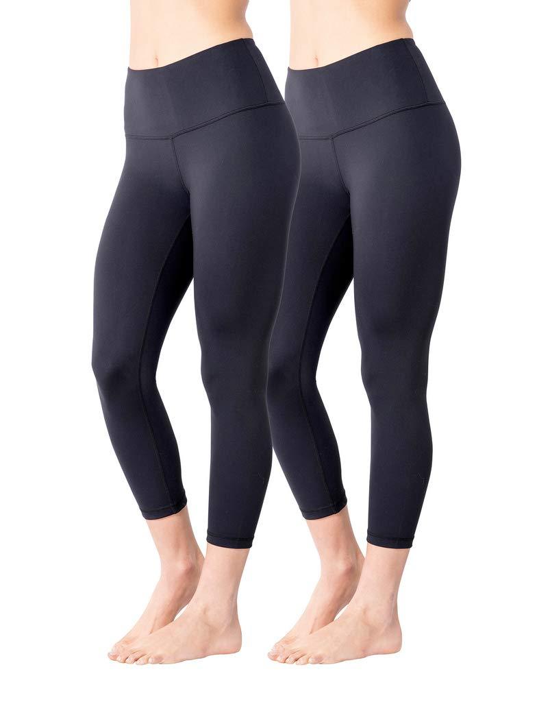 Yogalicious High Waist Ultra Soft Lightweight Capris - High Rise Yoga Pants - Classic Black 2 Pack - XS
