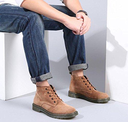 Traspirante Semplice al Tendine up Brown Uomo Resistente Lace Martin Stivali Koyi Confortevole Antiscivolo Moda da Giovanile Stivali Fondo 7qfHaH