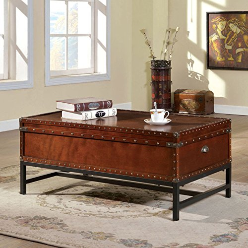 Milbank Old English Style Cherry Finish Coffee Table (Trunk Style Coffee Table Set)
