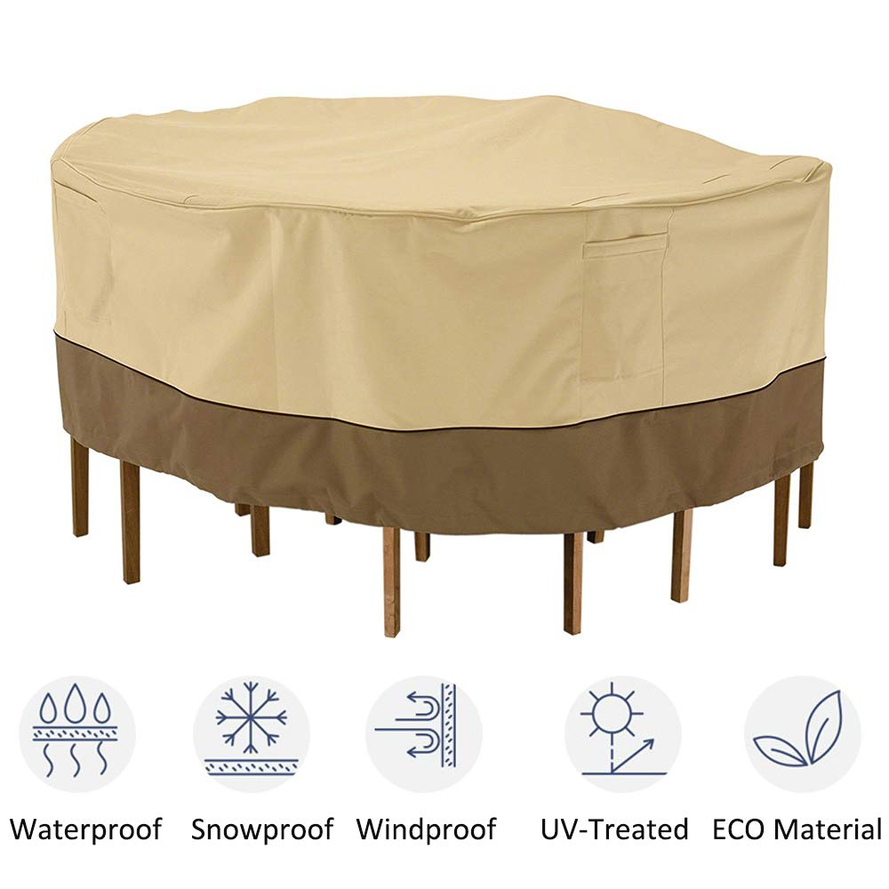 """kdgarden Outdoor Round Patio Table and 6 Chairs Set Cover, Heavy Duty Waterproof 600D Large Furniture Set Cover for All Weather Protection, 94"""" Dia x 30"""" H, Beige Brown"""