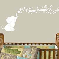 Decal the Walls Elephant Bubbles Vinyl Decal with Personalized Name Nursery, ...