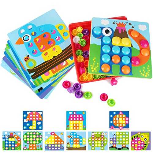 Korano 3D Puzzles for Kids Mushroom Nails Button Art Mosaic Pegboard DIY Jigsaw Puzzle Pegging Board, Baby Early Learning Educational Toys for Toddlers & Kids