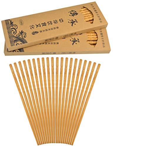 Yolyoo 30 Pairs Chinese Natural Bamboo Chopsticks Lightweight Reusable Wood Chopstick Set for Eating Cooking