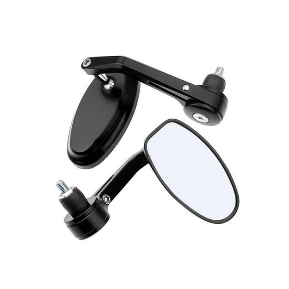 ViZe 7//8 22mm Bar End Mirrors For Motorcycle Universal Rear View Mirrors For Yamaha Honda Triumph Ducati Motif Black-Black