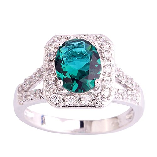Psiroy 925 Sterling Silver Elegant Girl's Oval Cut Emerald Quartz Halo Filled Ring - Edge Cathedral Setting