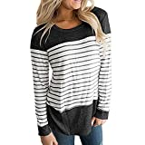 Barlver Women's Blouse Color Block Striped Floral Printed T-Shirt Tunic-Shirts Comfy Casual Tops Tees for Women Striped Grey 4-6