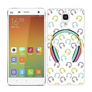 Funda carcasa para Xiaomi MI4 estampado auriculares música azul rosa amarillo borde blanco