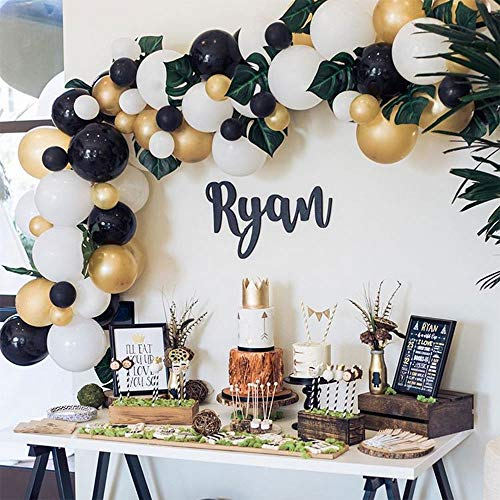 Balloon Garland Arch Kit, White Black Gold Balloons 101 PCS, Artificial Palm Leaves 6 PCS, Balloons for Parties, Party Wedding Birthday Balloons Decorations, Baby Shower Decorations for Girl Boy]()