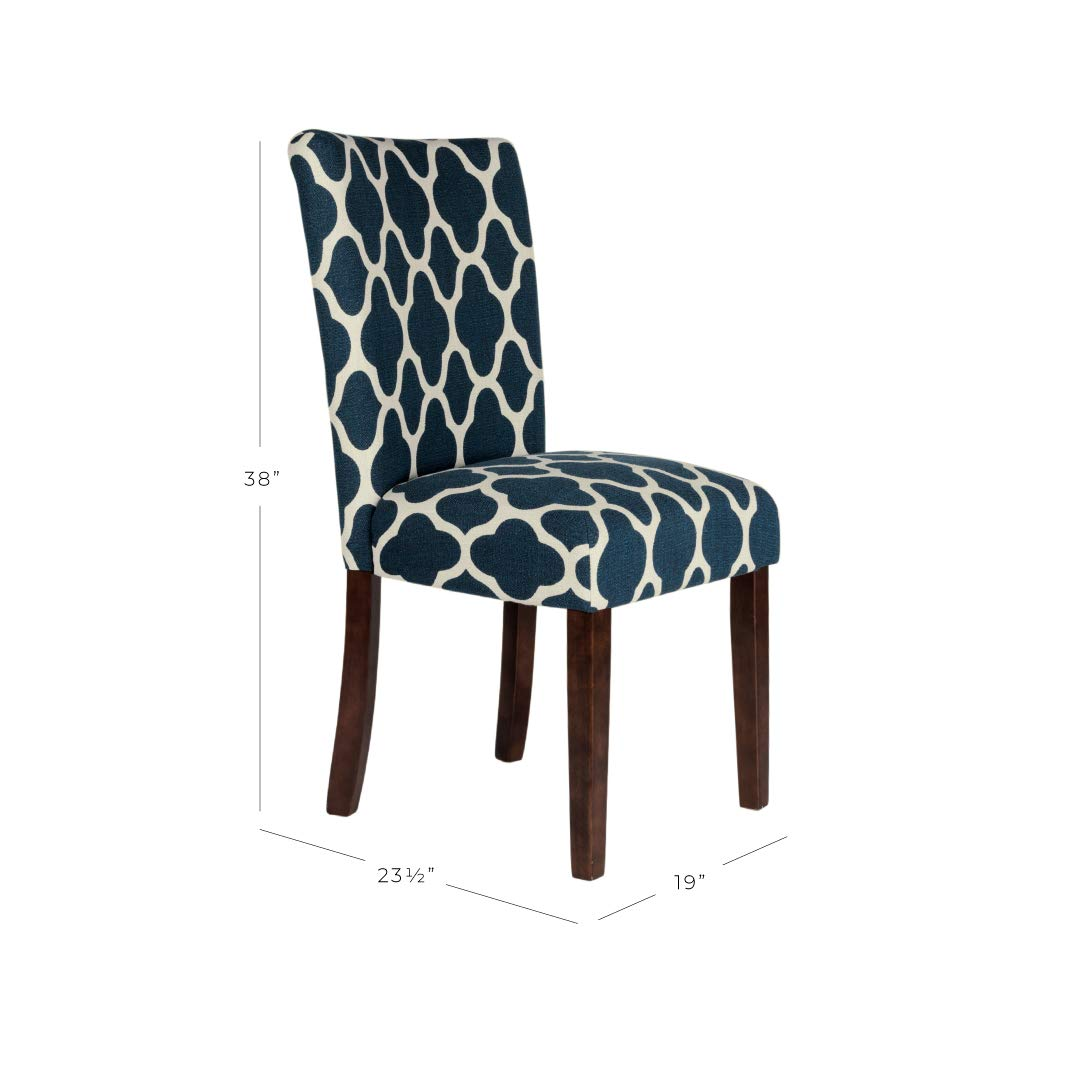 HomePop Parsons Classic Upholstered Accent Dining Chair, Set of 2, Navy and Cream Geometric by HomePop (Image #6)