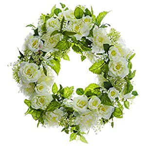 "26"" Peony, Rose & Lily of The Valley Silk Flower Hanging Wreath -Cream/Green (Pack of 2) 83"