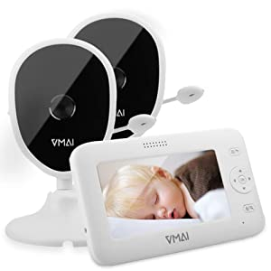 Baby Monitor, 4.3'' Video Baby Monitor with 2 Cameras, Night Vision, Temperature Monitoring, 5 Lullabies, 2-Way Talk, VOX Mode, Feeding Time Alarm, Support up to 4 Cams, 1000ft Stable Transmission