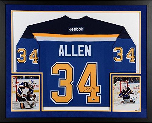 Authentic Autographed Jersey Blue Reebok (Jake Allen St. Louis Blues SM Deluxe Framed Autographed Blue Reebok Premier Jersey - Fanatics Authentic Certified)