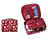 L&FY Cosmetic Makeup Bag Toiletry Travel Kit Organizer (Flower in Blue) (Wine red)